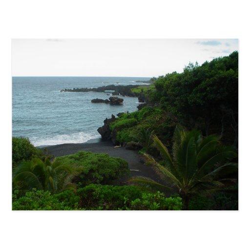 Playa en el camino a Hana, postal de Maui Hawaii