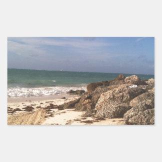 Playa en el puerto Lucaya, puerto franco, Bahamas Pegatina Rectangular