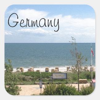 Playa en Fehmarn Alemania Pegatina Cuadrada