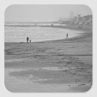 Playa en Galveston Pegatina Cuadrada