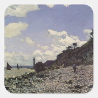 Playa en Honfleur, 1864 (aceite en lona) Calcomanía Cuadrada Personalizada