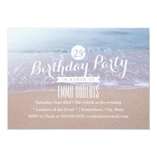 Playa en la fiesta de cumpleaños de la mañana invitación 12,7 x 17,8 cm