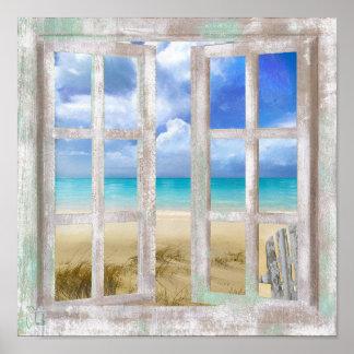 Playa en la impresión costera de la cabaña de la póster