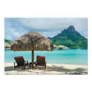 Playa en la impresión de la foto de Bora Bora Fotografía
