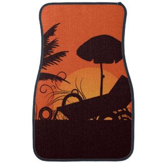 Playa en la puesta del sol alfombrilla de auto