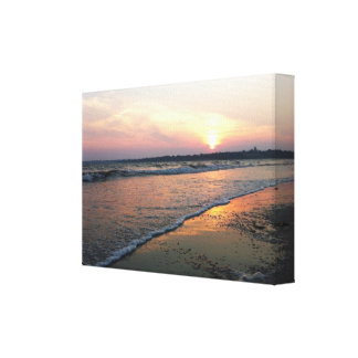 Playa en la puesta del sol impresion de lienzo