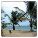 Playa en la República Dominicana Reloj Cuadrado