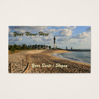 Playa en la salida del sol tarjetas de visita