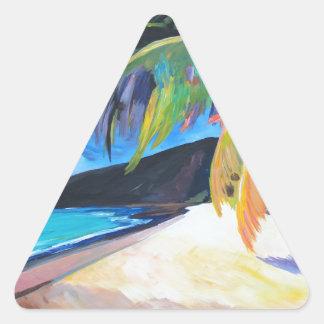 Playa en las Islas Vírgenes de St Thomas los Pegatina Triangular