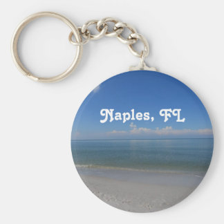 Playa en Nápoles Llavero Redondo Tipo Pin