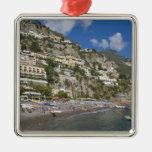 Playa en Positano, Campania, Italia Adorno Navideño Cuadrado De Metal