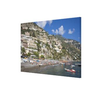 Playa en Positano, Campania, Italia Impresión En Lona Estirada