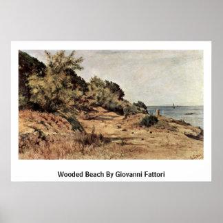 Playa enselvada de Giovanni Fattori Poster