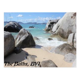 Playa escénica en los baños en la Virgen Gorda BV Postal