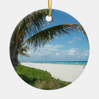 Playa escénica, rama lateral de la palma ornamento de navidad
