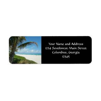 Playa escénica, rama lateral de la palma etiquetas de remite