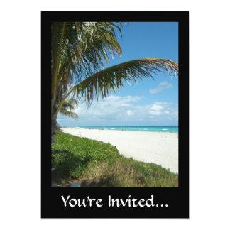 Playa escénica, rama lateral de la palma invitación 12,7 x 17,8 cm