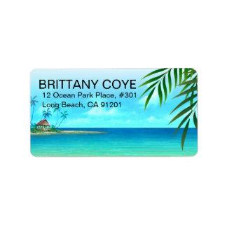 Playa exótica etiquetas de dirección