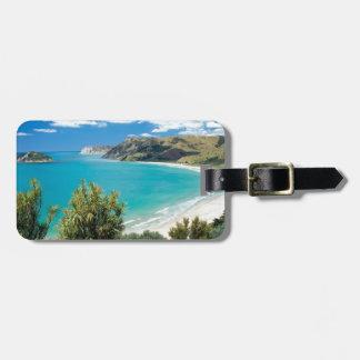 playa exótica etiqueta de equipaje