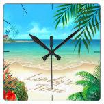 Playa exótica:: PERSONALIZADO para Lindy:: Reloj De Pared