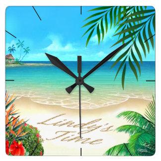 Playa exótica:: PERSONALIZADO para Lindy:: Reloj Cuadrado