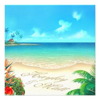 Playa exótica (pida que ponga sus nombres en arena invitaciones personalizada