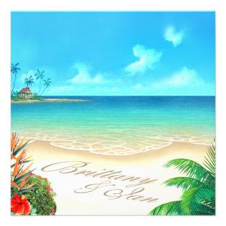 Playa exótica (pida que ponga sus nombres en arena invitaciones personales