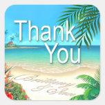Playa exótica (pida que ponga sus nombres en calcomania cuadrada personalizada