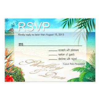 Playa exótica RSVP de Shelley y de Dan personali Comunicado Personalizado