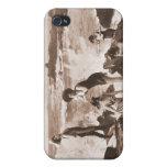 Playa francesa de la mujer del Victorian de las mu iPhone 4/4S Carcasas