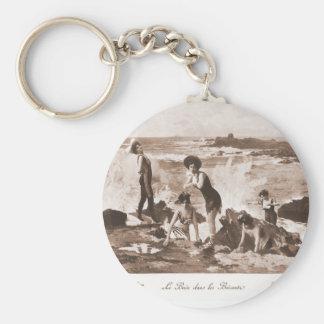Playa francesa de la mujer del Victorian de las mu Llaveros Personalizados