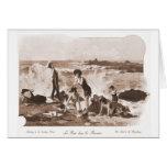Playa francesa de la mujer del Victorian de las mu Felicitación