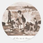 Playa francesa de la mujer del Victorian de las Pegatina Redonda