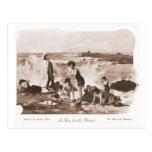 Playa francesa de la mujer del Victorian de las Postal