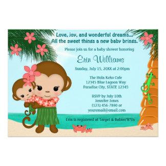 Playa hawaiana de la invitación de la fiesta de bi