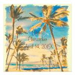 Playa hawaiana del vintage de PixDezines/azul cerú Comunicado Personalizado