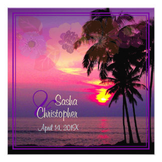 Playa hawaiana Luau de la puesta del sol de PixDe Invitaciones Personalizada