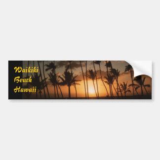 Playa Hawaii de Waikiki Etiqueta De Parachoque