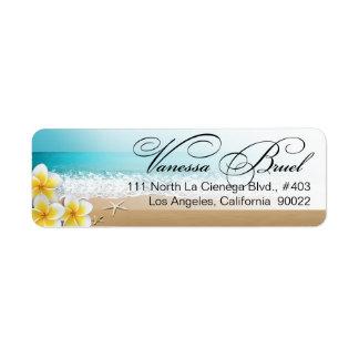 Playa Hawaii que se casa tropical de las estrellas Etiqueta De Remitente