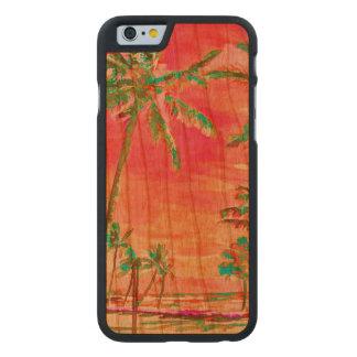 Playa/Hawaii/rosa del vintage de PixDezines Funda De iPhone 6 Carved® Slim De Cerezo