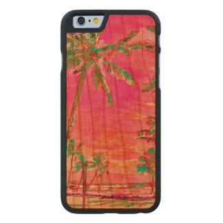 Playa/Hawaii/rosas fuertes del vintage de Funda De iPhone 6 Carved® De Cerezo
