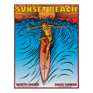 PLAYA HAWAII SURFBREAK DE LA PUESTA DEL SOL QUE PR PÓSTER