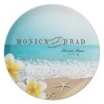 Playa Hawaii tropical de las estrellas de mar del  Plato Para Fiesta