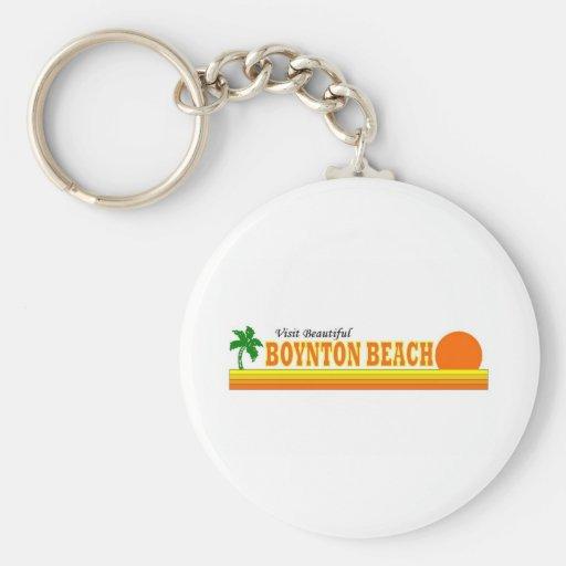 Playa hermosa de Boynton de la visita Llavero Redondo Tipo Pin