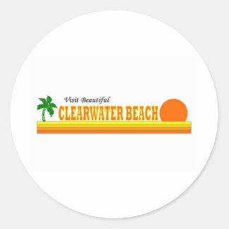 Playa hermosa de Clearwater de la visita Etiquetas Redondas