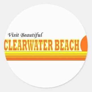 Playa hermosa de Clearwater de la visita Pegatina Redonda