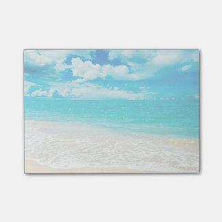 Playa hermosa del verano post-it notas