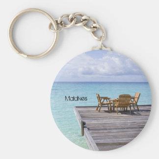 Playa hermosa en Maldivas Llavero Redondo Tipo Pin