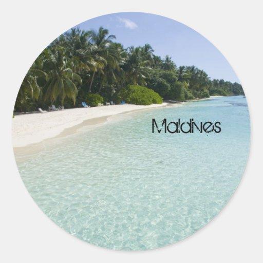 Playa hermosa en Maldivas Pegatina Redonda