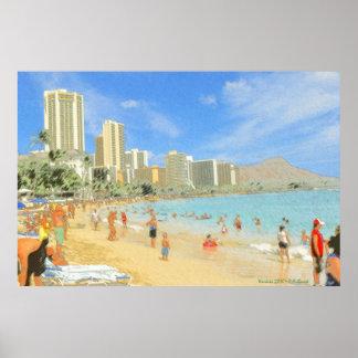 Playa Honolulu Hawaii - impresión de Waikiki de la Póster